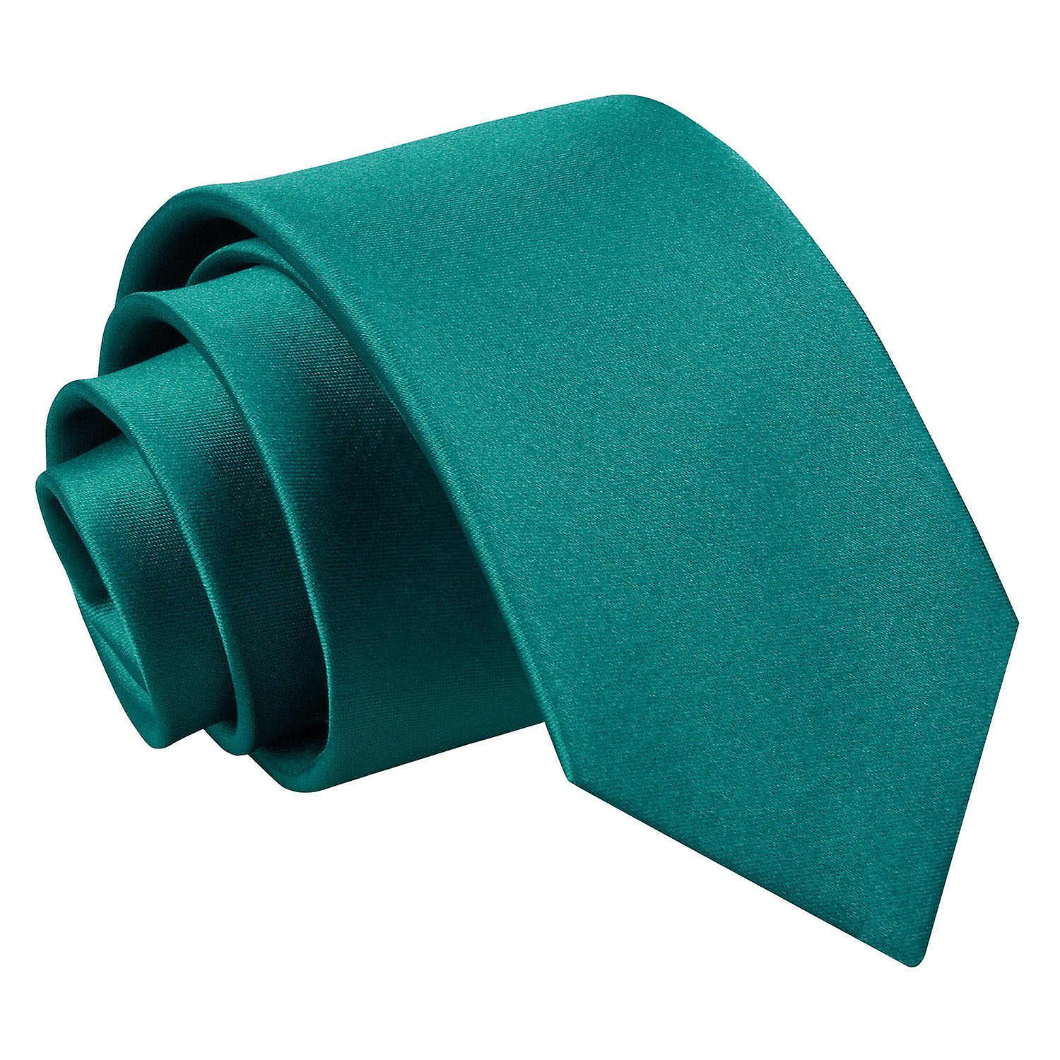 Plain Teal Satin Slim Tie