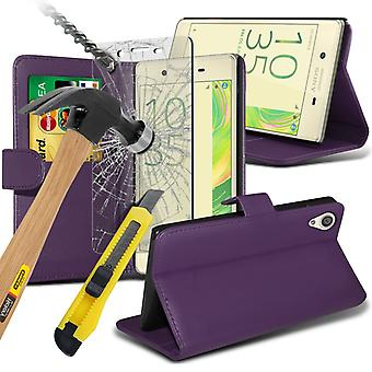 i-Tronixs Sony Xperia E5 Case PU Leather Wallet Flip Cover + Glass Screen Protector -Purple