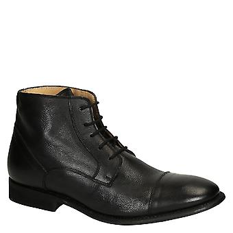 Black horse leather plain cap toe men's dress boots