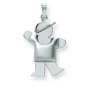 14k White Gold Puffed Boy with Hat on Left Engraveable Charm - 2.5 Grams