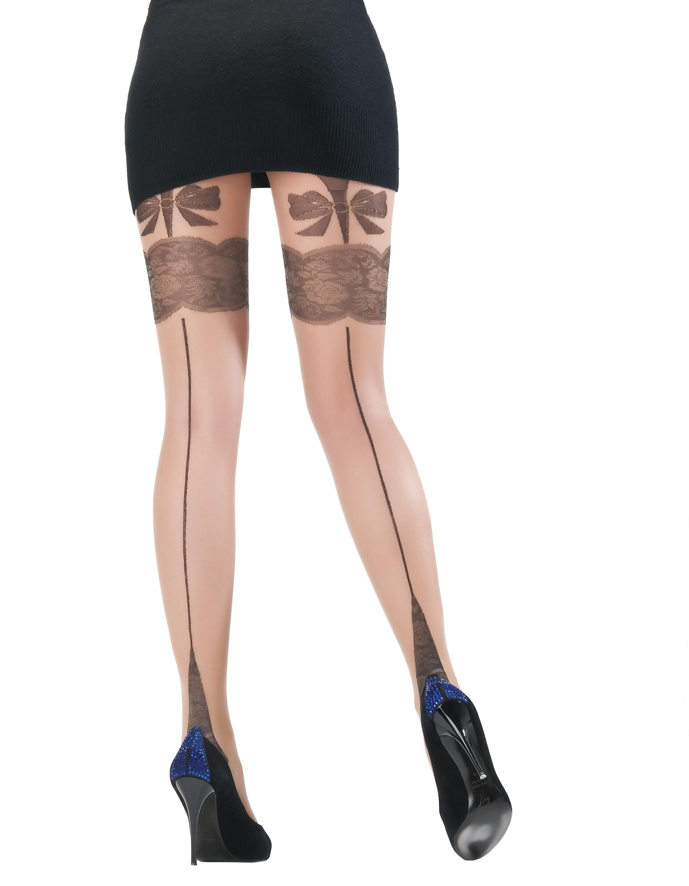 Princess - ladies tights with straps look back seam loop pianissimi 15 DEN