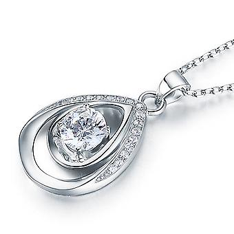 925 Sterling Silver 1 Carat Water Drop Simulated Diamond Pendant