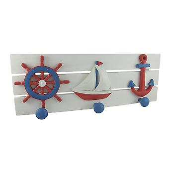 Red, White, and Blue Nautical Wooden Wall Pegs