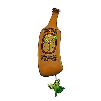 Allen Designs Beer Time Beer Bottle Pendulum Wall Clock