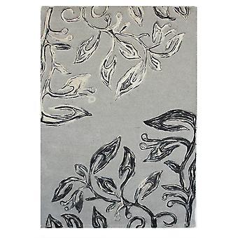 Grey Modern Carved Wool Rug Essence