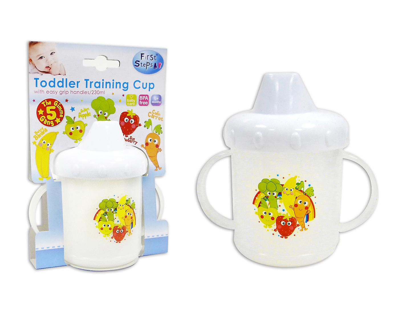 First Steps Toddler Training Cup with Easy Grip Handles and Cute Design