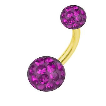 Belly Bar Banana Piercing Gold Plated Titanium, Multi Crystal Ball Purple | 6-16