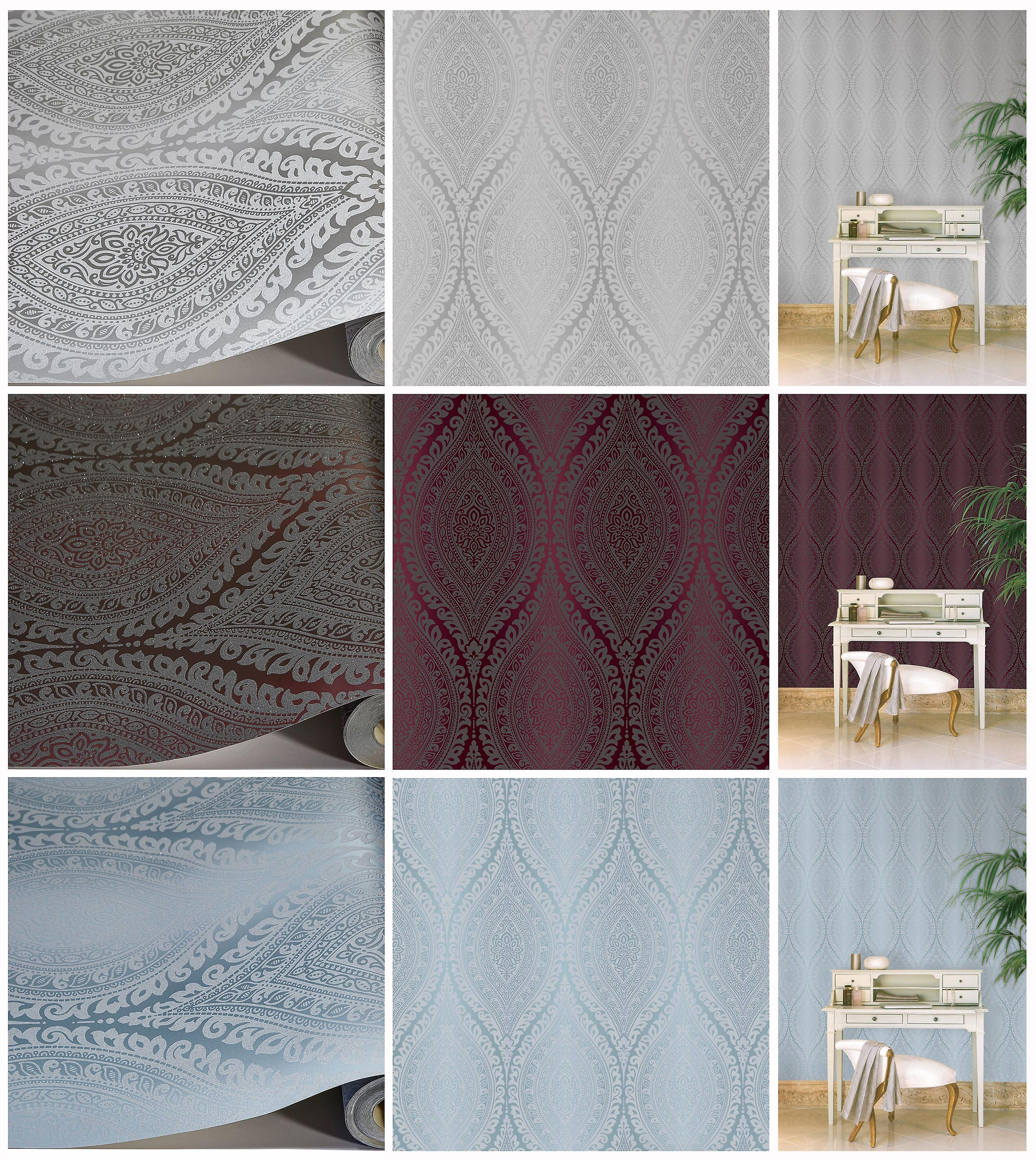 Damask Wallpaper Metallic Glitter Sparkle Textured Embossed Luxury Vinyl