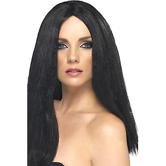 Star style wig long-haired 44 cm black party 70's