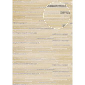Stone tiles wallpaper Atlas ICO-5076-5 non-woven wallpaper smooth with stone look shimmering beige creamy white bronze 7,035 m2