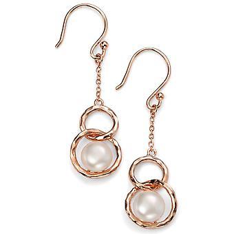 925 sølv Rose gull belagt og perle øreringer Trend
