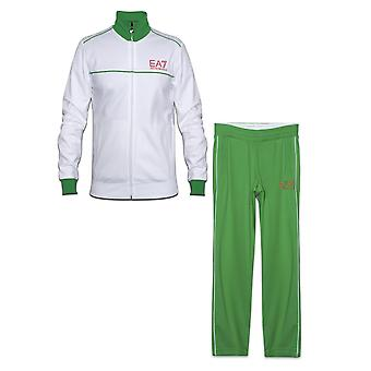 EA7 Mens EA7 White & Green Tracksuit