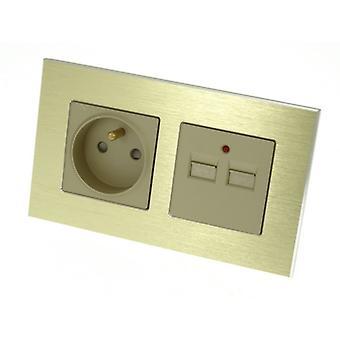 I LumoS Luxury Gold Brushed Aluminium Frame 16A French + 2.1A USB Double Socket UK & EU Standard
