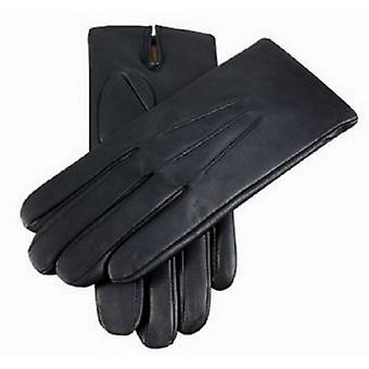 Dents Cashmere Lined Plain Leather Gloves - Black