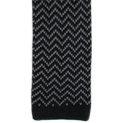 Michelsons of London Zig Zag Silk Knitted Skinny Tie - Black/Charcoal