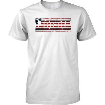 Liberia-Grunge Land Name Flag-Effekt - Kinder T Shirt