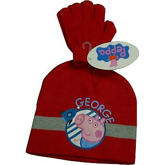 Boys Peppa Pig George 2 Piece Set Winter Beanie Hat & Glove
