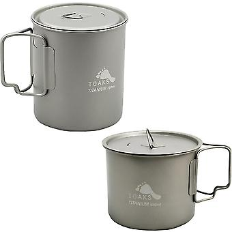 TOAKS Ultralight Titanium Camping Cook Pot with Foldable Handles and Lid