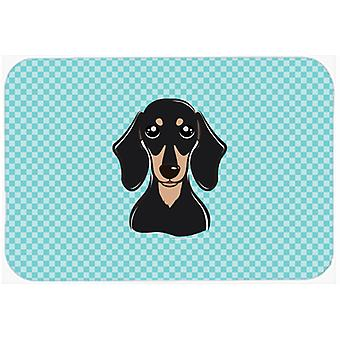 Checkerboard Blue Smooth Black and Tan Dachshund Mouse Pad, Hot Pad or Trivet