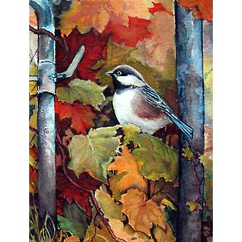 Carolines Treasures  PJC1060CHF Fence Sitter Chickadee Flag Canvas House Size