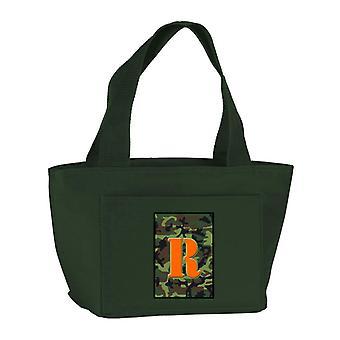 Lettera R Monogram - Camo verde scuola coibentato con cerniera lavabile ed elegante Lu