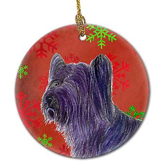 Skye Terrier Red Snowflakes Holiday Christmas Ceramic Ornament SS4670