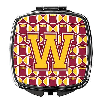 Letter W Football Maroon and Gold Compact Mirror