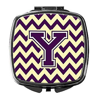 Carolines Treasures  CJ1058-YSCM Letter Y Chevron Purple and Gold Compact Mirror