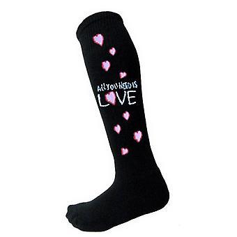 Les Beatles, All Qu'you Need officiel Womens Black genou haut chaussettes (UK taille 4-7)