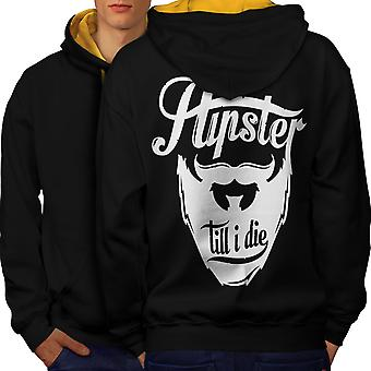 Hippie Beard Vintage Men Black (Gold Hood)Contrast Hoodie Back | Wellcoda