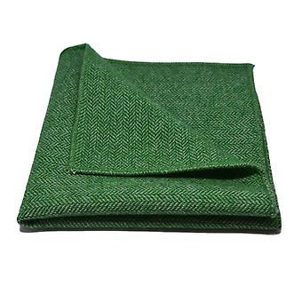 Garden Green Herringbone Pocket Square, Handkerchief