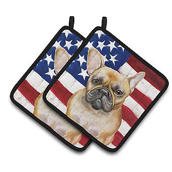 Carolines Treasures  BB9688PTHD French Bulldog Patriotic Pair of Pot Holders