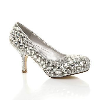 Ajvani womens baixa média calcanhar bombas escondidas plataforma trabalho formal sapatos