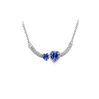 Dam dubbel hjärta kärlek Mörk blå Crystal Pendant Halsband stenar