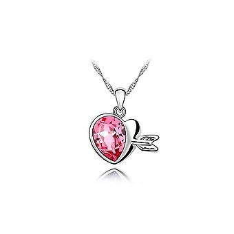 Womens Pink Gemstone Chain Crystal Heart Necklace Pendant