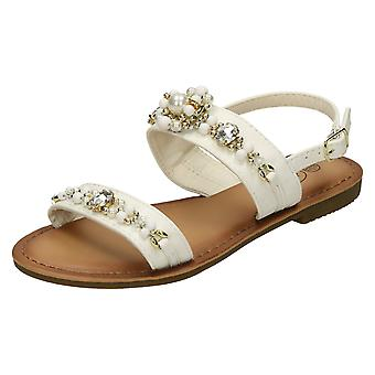 Girls Spot On Pearl Jewel Trim Sandals H0273