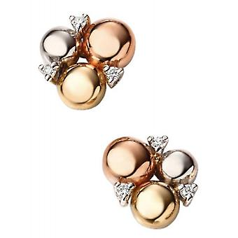 Elements Gold Triple Diamond Circle Stud Earrings - Gold/Rose Gold