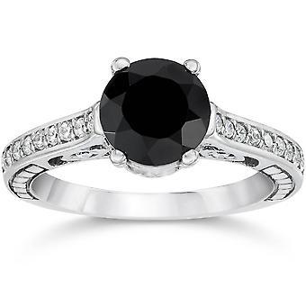 1 3 / 4ct Black & bianco Vintage diamante anello di fidanzamento 14k oro bianco