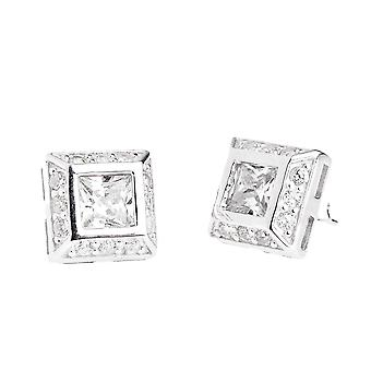 Sterling 925 Silver PAVE earrings - cubic zirconia CENTER 10 mm