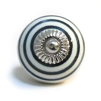 White / Black Stripes Ceramic Cupboard Knob