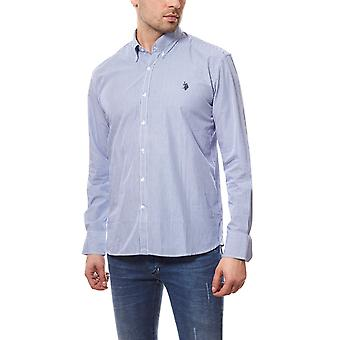 U.S. POLO ASSN. Men's business shirt of button down blue