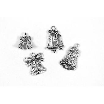 Packet 4 x Antique Silver Tibetan 14-24mm Bell Charm/Pendant Set ZX17350