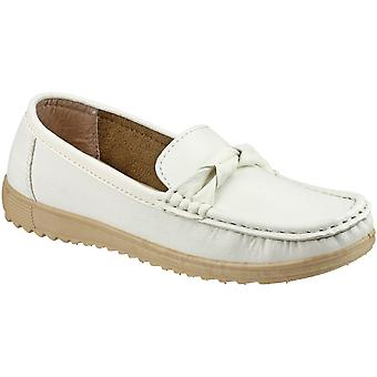 Amblers Ladies Paros Slip On Moccasin Style Smart Casual Shoe White