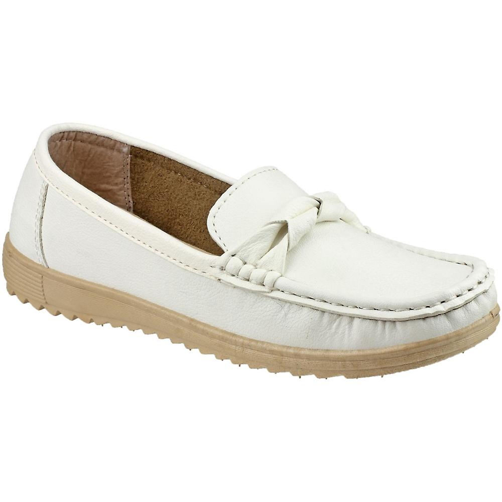 Amblers Ladies Style Paros Slip On Moccasin Style Ladies Smart Casual Shoe White 2ed159