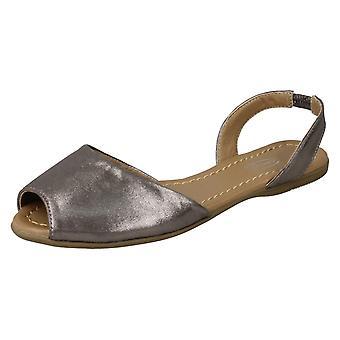 Spot de dames sur plat Mule Slingback Sandals F00152 - feuille métallique en étain - UK taille 3 - UE taille 36 - taille US 5