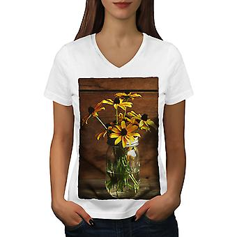 Yellow Flower Art Women WhiteV-Neck T-shirt | Wellcoda