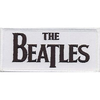 The Beatles Patch  White Drop T band Logo Official woven (9cm x 4cm)