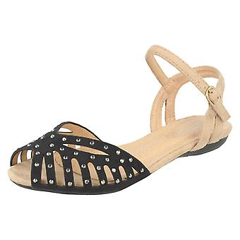 Girls Spot On Peep Toe Sandals H0123