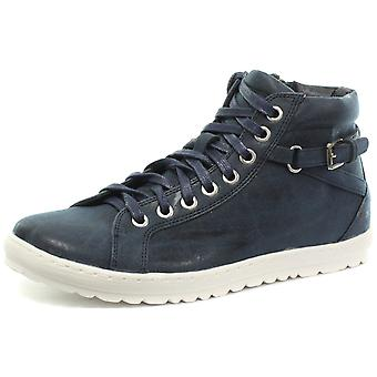 Cipriata Octavia Navy Side Zip 8 Eye Womens Lace Up Shoes