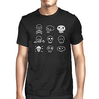 Skulls T-Shirt For Halloween Mens Black Graphic Tee Short Sleeve